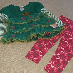 Little Lass 2 PC Holiday Outfit 2T NWT